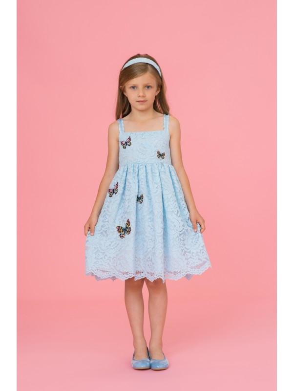 Blue lace dress with butterflies