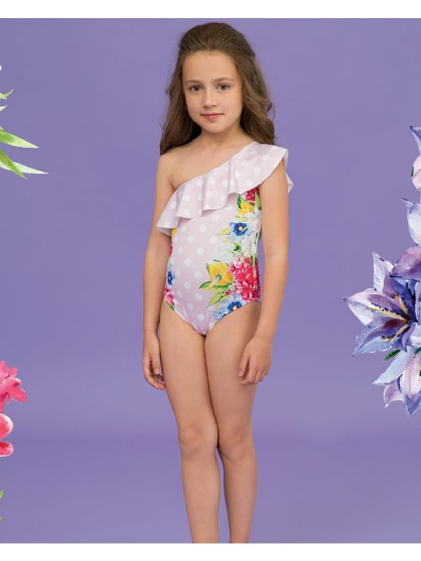 Pink polka dots floral swimsuit