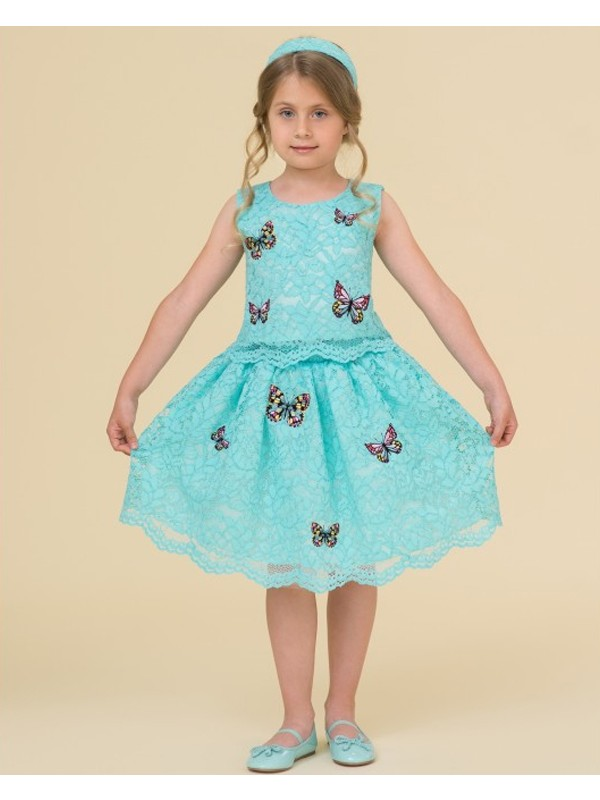 Mint lace top and tulle skirt with butterflies