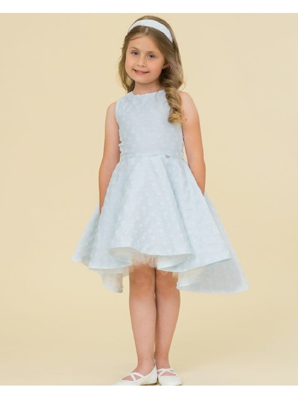 Pale blue tulle dress with small flowers
