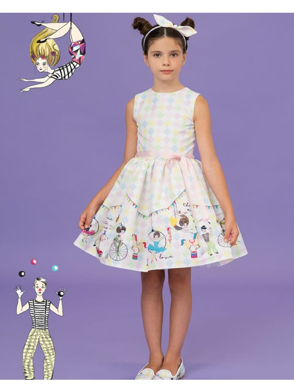 Circus tulle dress with light pink ribbon