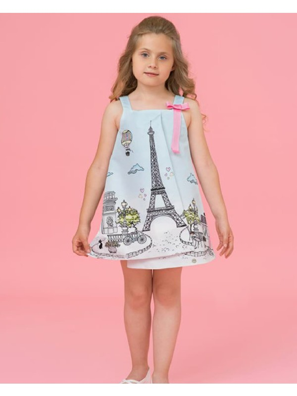 Pale blue trapeze Eiffel Tower dress with pink bow