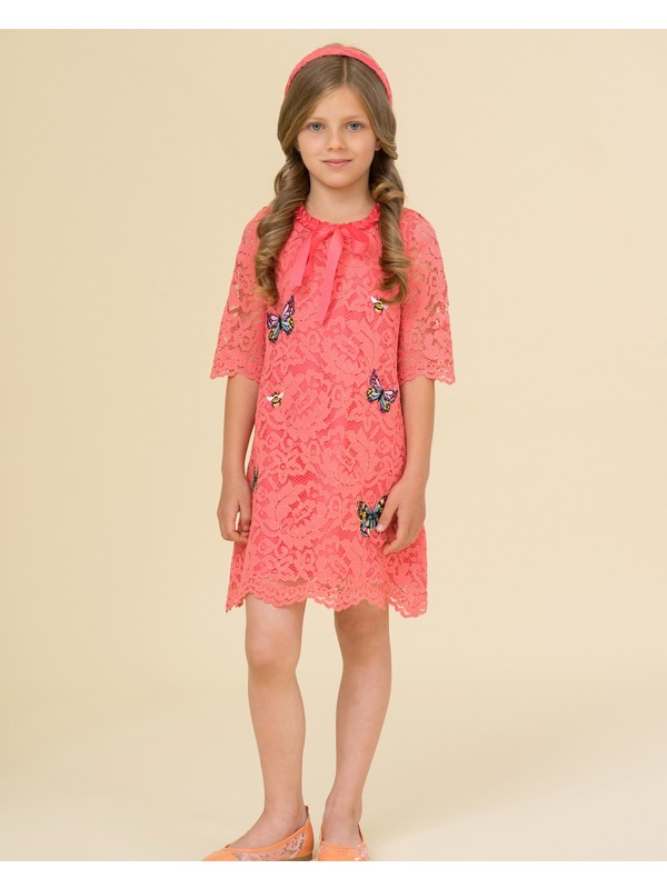 Coral lace dress with butterflies