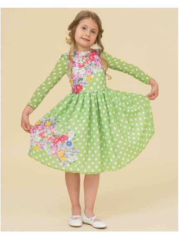 Green polka dots floral dress