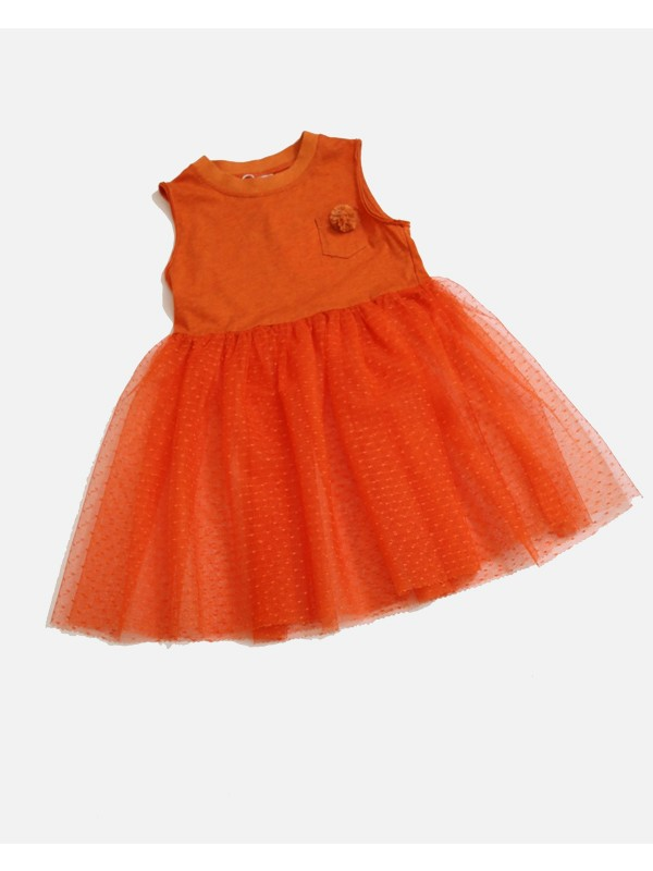 Pompom Tulle Overlay Dress