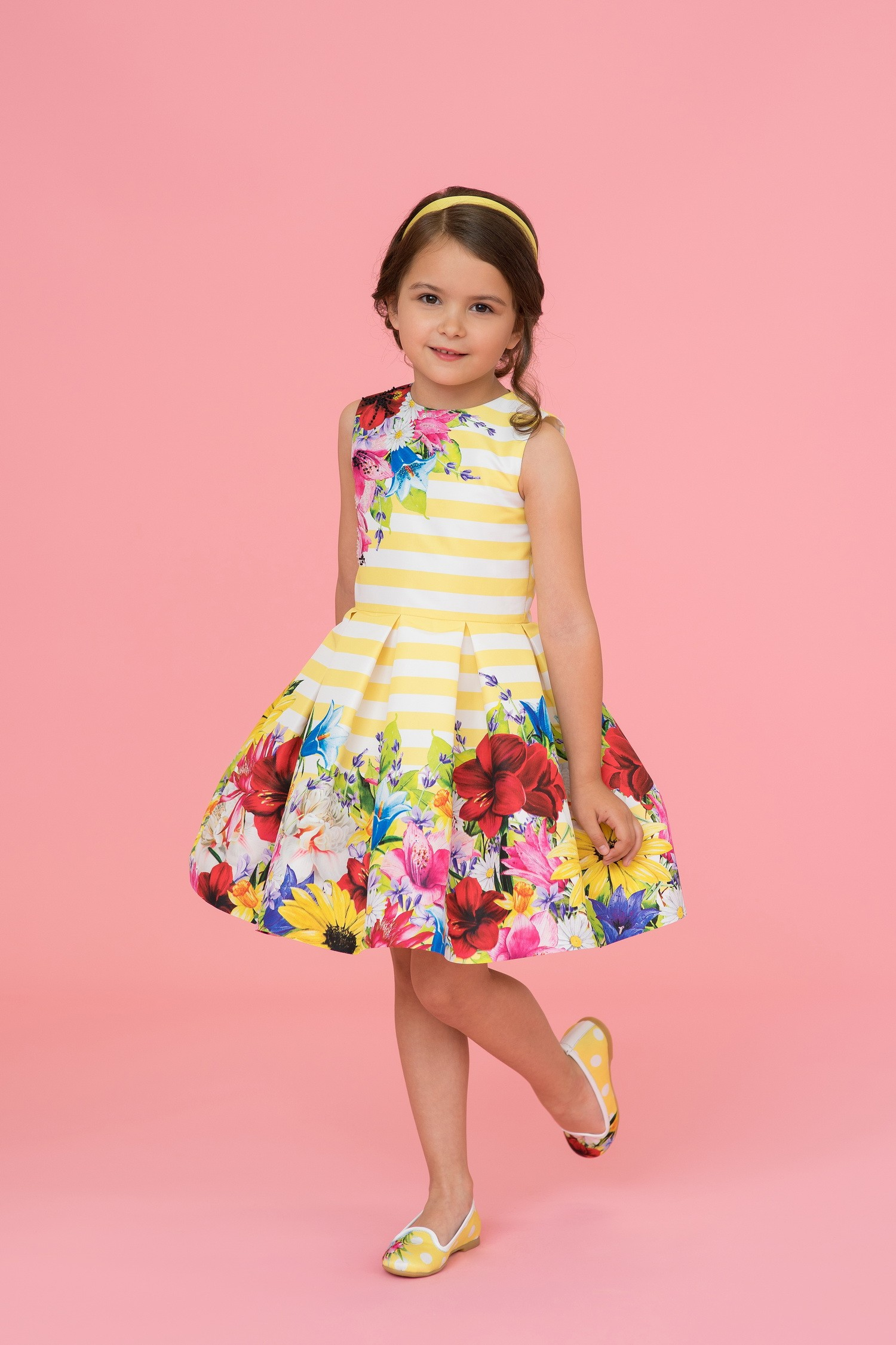 Yellow striped floral tulle dress