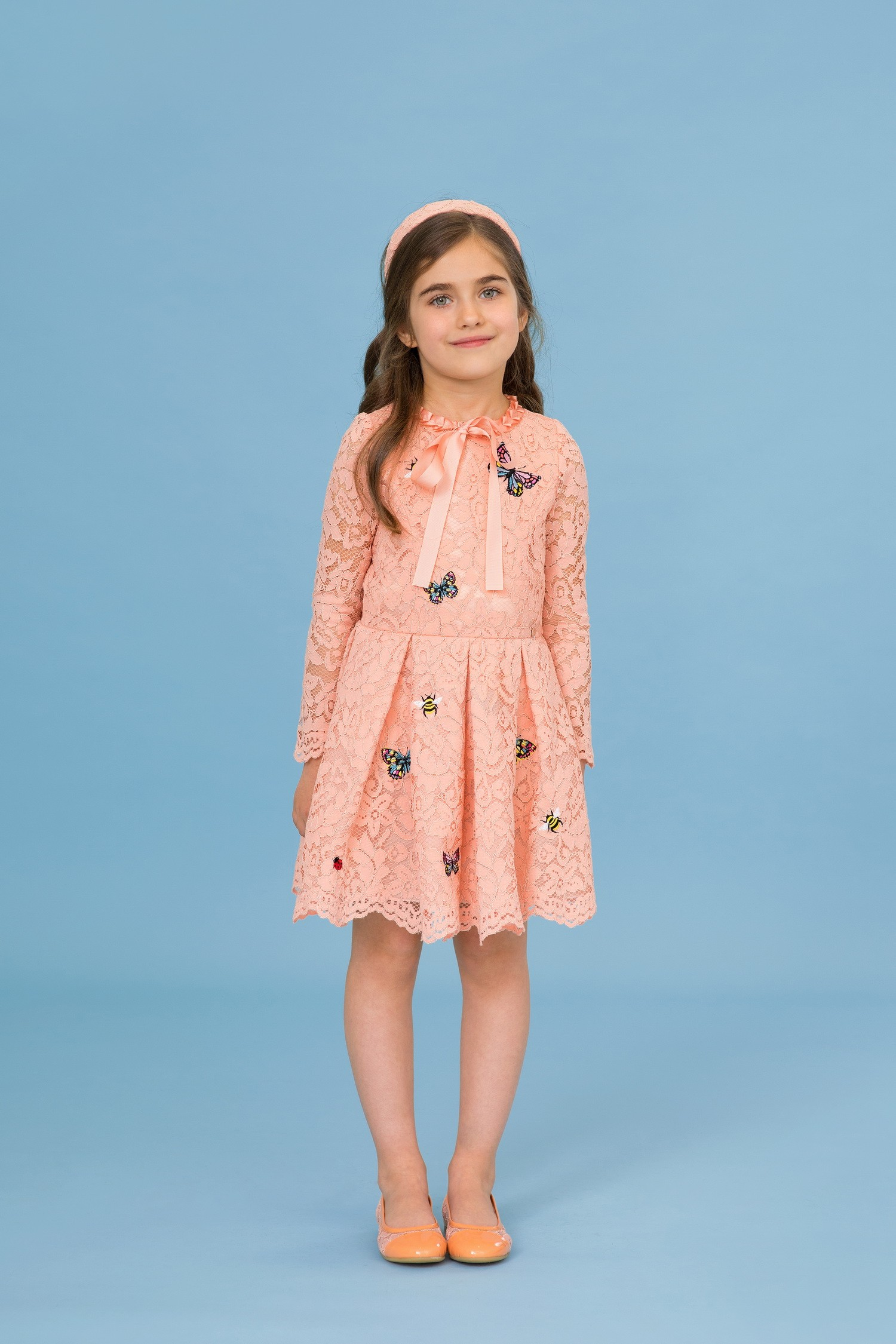 Powder lace dress with butterflies