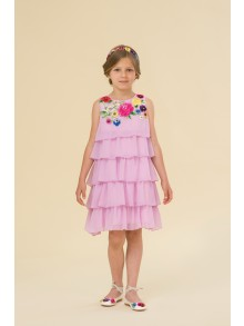 Lilac layered chiffon dress with embroidery