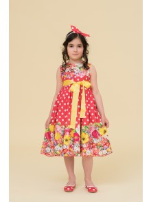 Coral polka dots floral dress