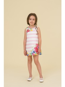 Pale pinkpolka dotsand striped back dress