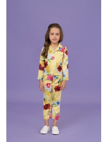 Yellow polka dots floral pajamas