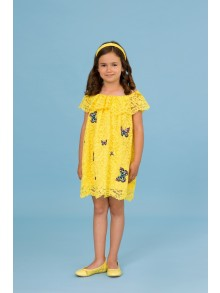 Yellow lace dress with butterflies