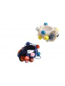 Tangled Bead Pompom Bangle
