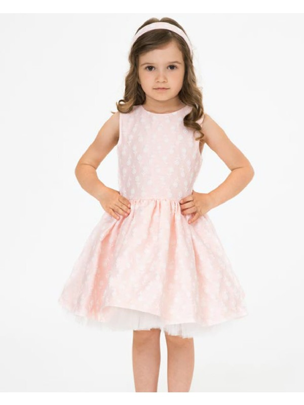 Pale pink tulle dress with small flowers