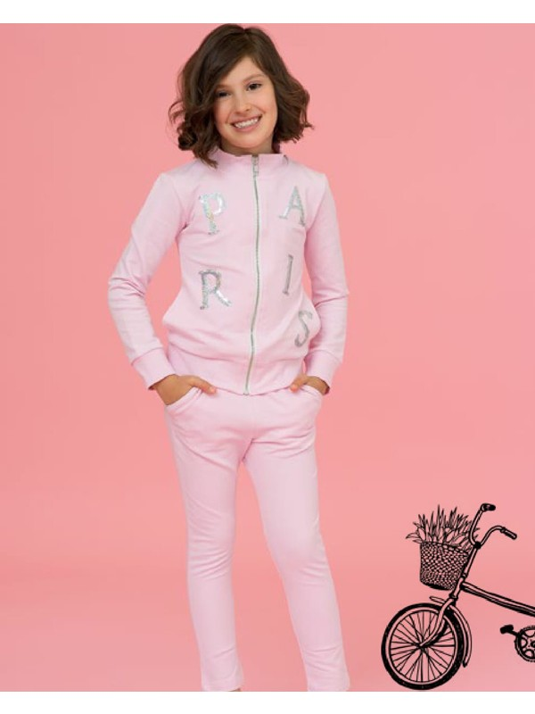 Pink Paris sequins tracksuit