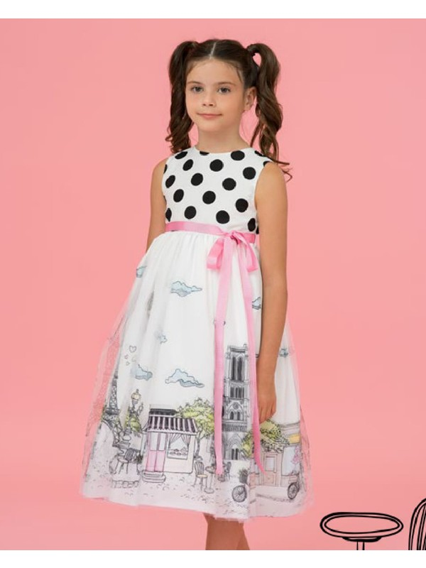 Polka dots 3D Paris tulle dress