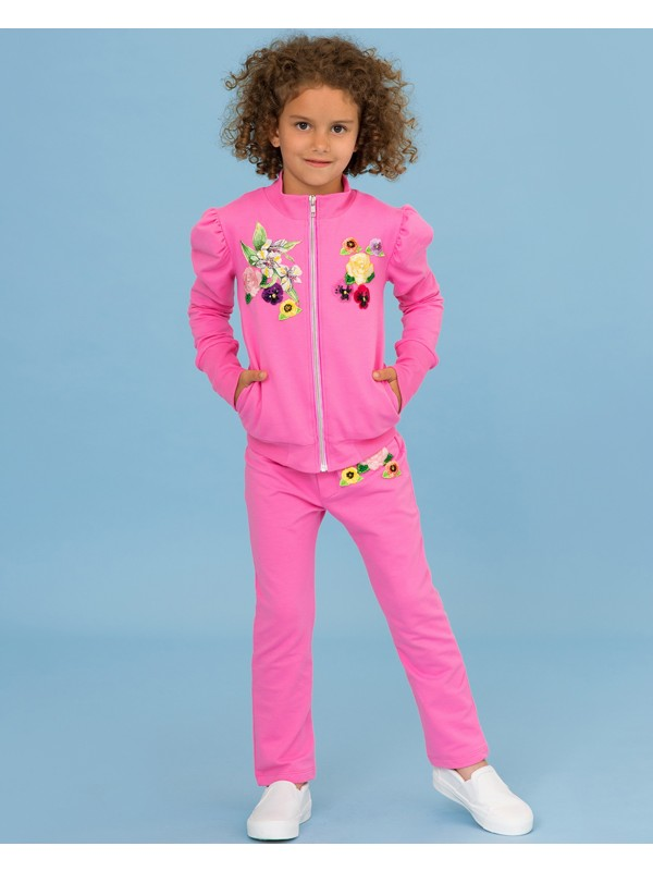 Fuchsia tracksuit with embroidery