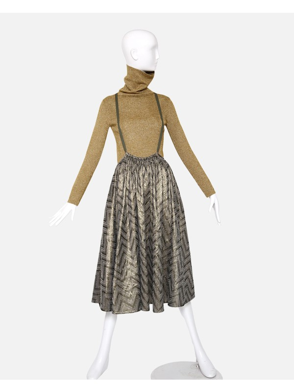 Suspendered Paperbag Pollera Skirt