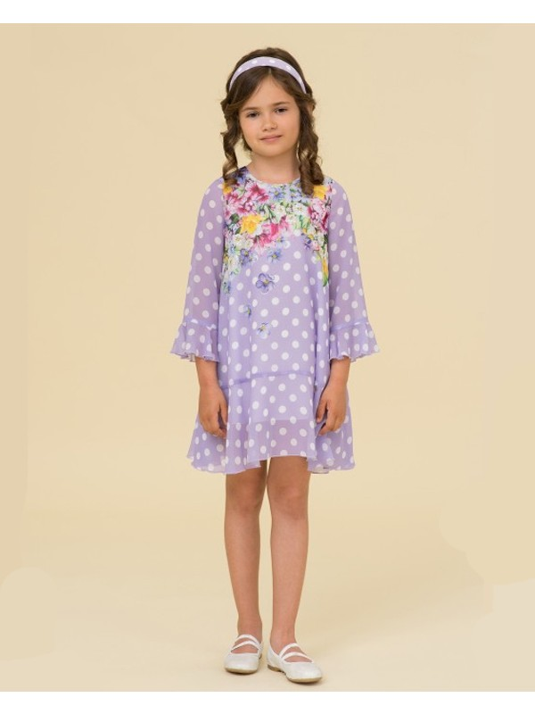 Lilac polka dots floral dress
