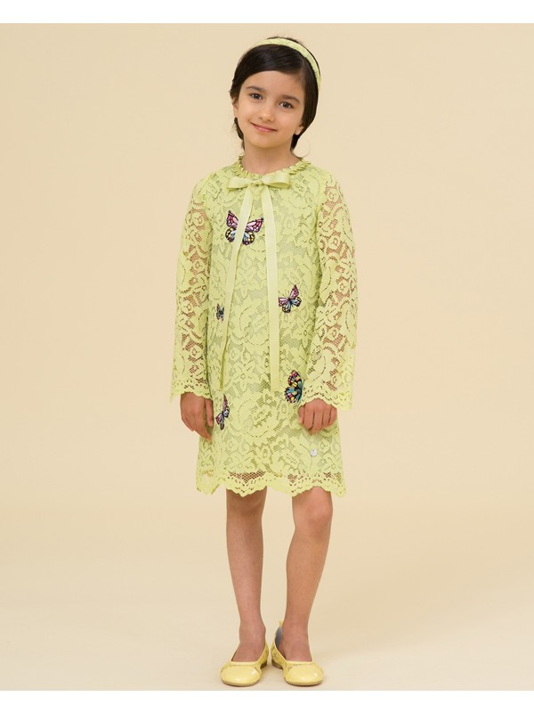 Lime lace dress with butterflies