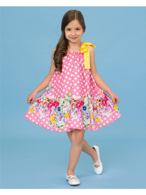Pink polka dots floral dress with yellow neck ribbon